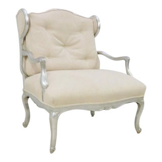 Louis XV Style Silver Gilt Wing Chair For Sale