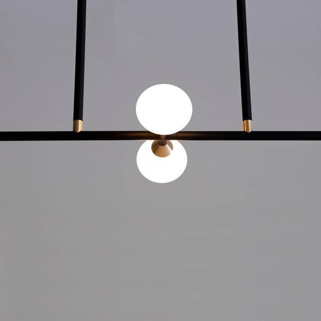 Contemporary Matte Black Linear McKenzie and Keim Apollo Four LED Chandelier For Sale - Image 4 of 12