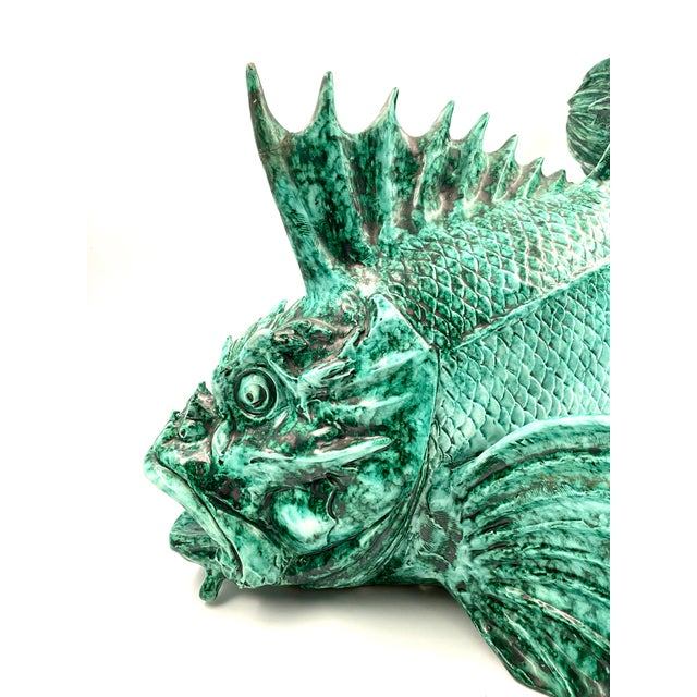 """1934 Guido Cacciapuoti """"Pesce Scorfano"""" Sculpture in Glazed Green Earthenware Signed and Dated For Sale - Image 6 of 13"""