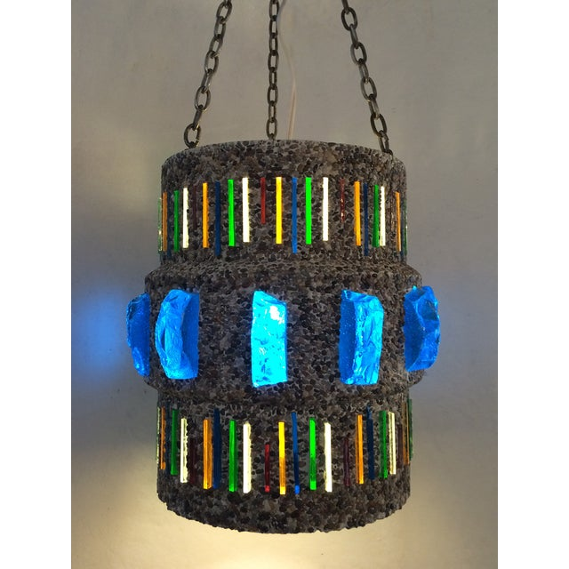 1960s Pebble-Finish Stained Glass Pendant - Image 2 of 5