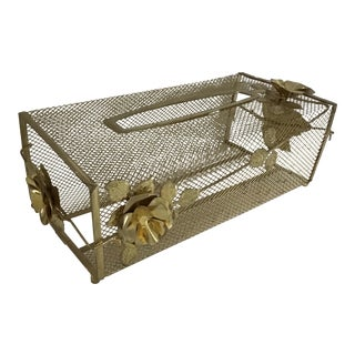 Regency Mesh Gold Rose Tissue Holder For Sale