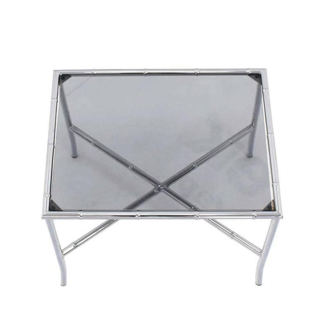 Chrome Faux Bamboo Smoked Glass Top Side or Coffee Table For Sale - Image 4 of 10