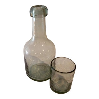 Glass Carafe and Cup Hand Blown Glass Vintage For Sale