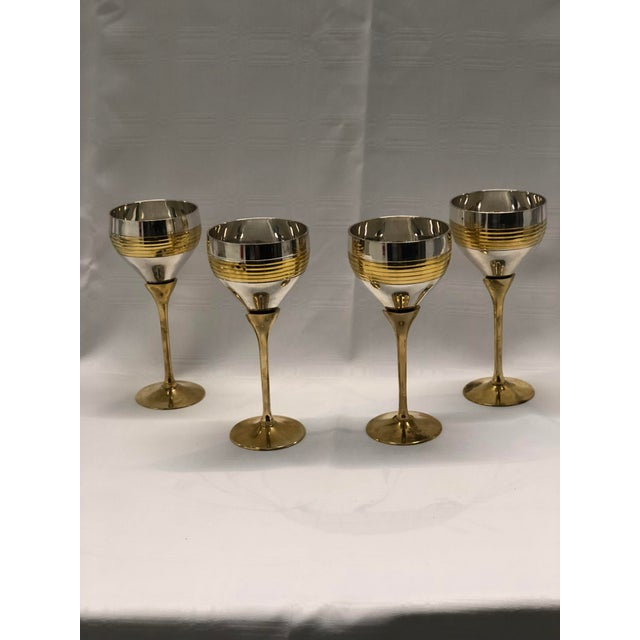 Set of Four Chrome and Brass Goblets For Sale In Atlanta - Image 6 of 7