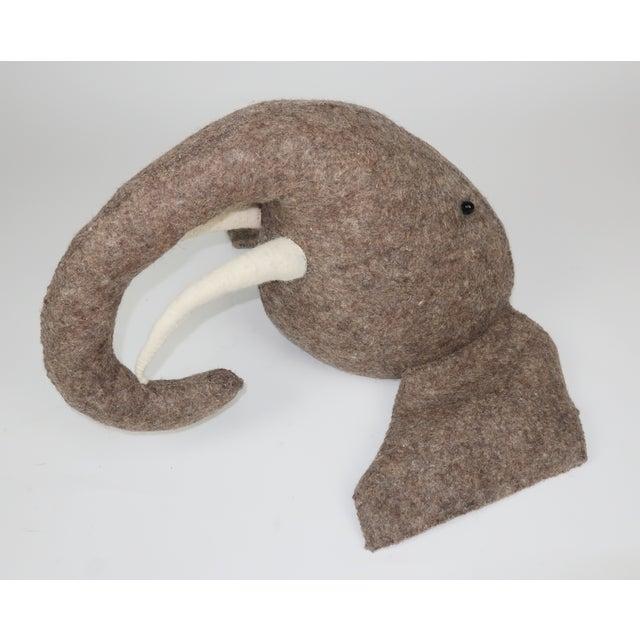 Felt Whimsical Large Wall Mount Felt Elephant Head For Sale - Image 7 of 12