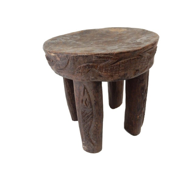 African Carved Milk Stool - Image 1 of 7