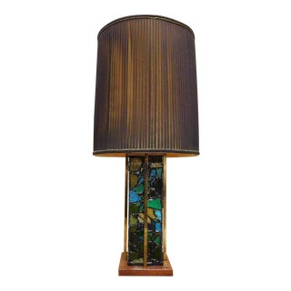 Mid-Century Brutalist Stained Glass & Brass Lamp For Sale