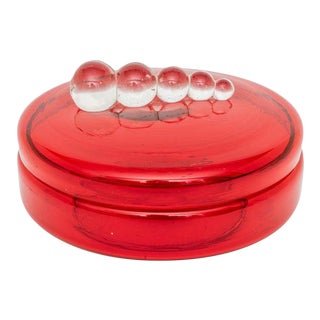 Art Deco 1930s Czech Red Glass Covered Dish Face-Powder Box For Sale