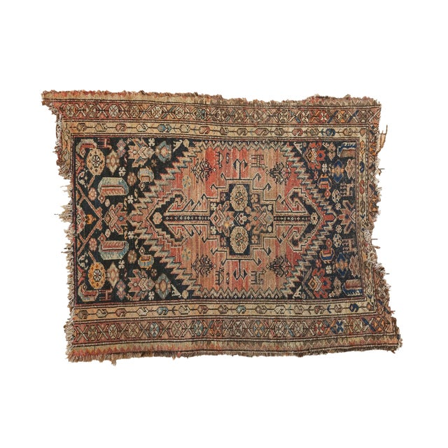 """Antique Tattered Malayer Square Rug - 3'5"""" x 4'3"""" - Image 1 of 10"""