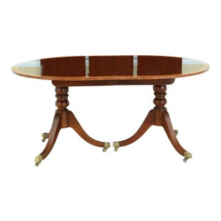 Baker Oblong Yew Wood Banded Mahogany Dining Room Table For Sale