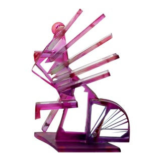 Contemporary Modern Purple Bicycle Art Glass Sculpture by Susan Pelish 1990s For Sale