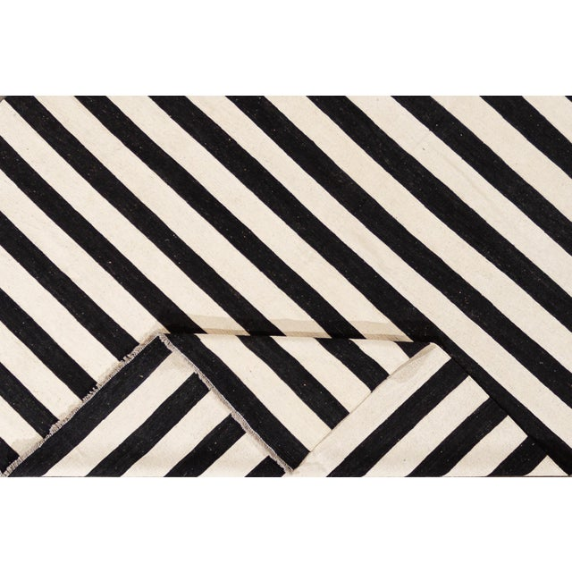 Contemporary Contemporary Black and White Striped Kilim Flat-Weave Wool Rug For Sale - Image 3 of 11