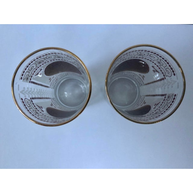 Mid 20th Century Hazel Atlas Frosted and Gilt Aztec Highball Cocktail Glasses - a Pair For Sale - Image 9 of 12