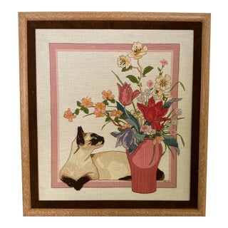 Vintage Embroidered Framed Picture Siamese Cat With Still Life For Sale