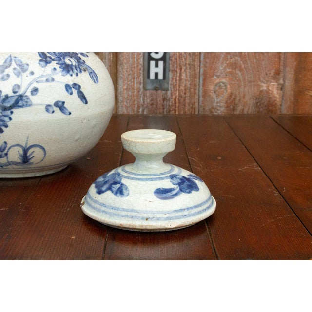 Ceramic Fascinating Early 20th Century Blue and White Jar For Sale - Image 7 of 12