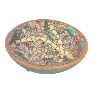Hand Crafted Mosaic Footed Oval Bowl For Sale