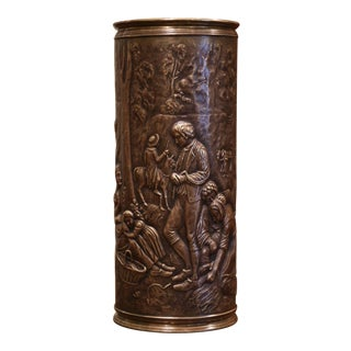 19th Century French Brass Umbrella Stand With Repousse Pastoral Scene For Sale