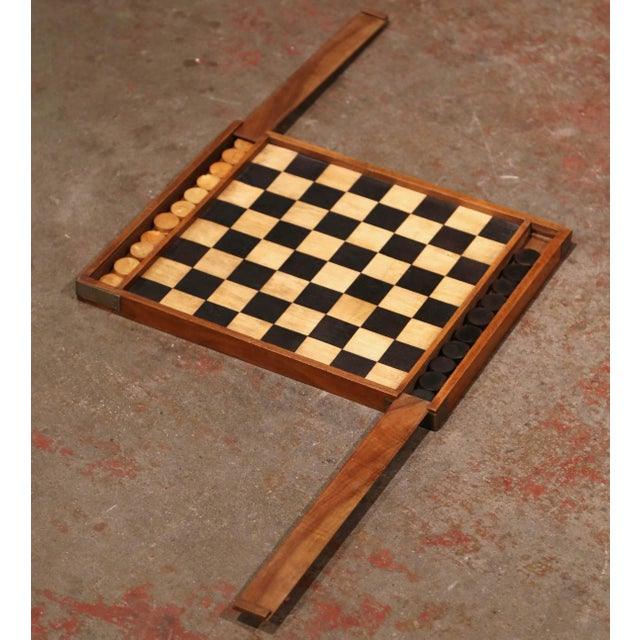 19th Century French Walnut Complete Checkers Board Game For Sale In Dallas - Image 6 of 6