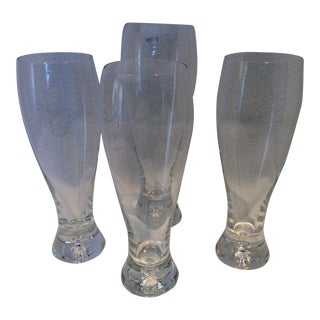 Hand Blown Krosno Crystal Lager Glasses Made in Poland - Set of 4 For Sale