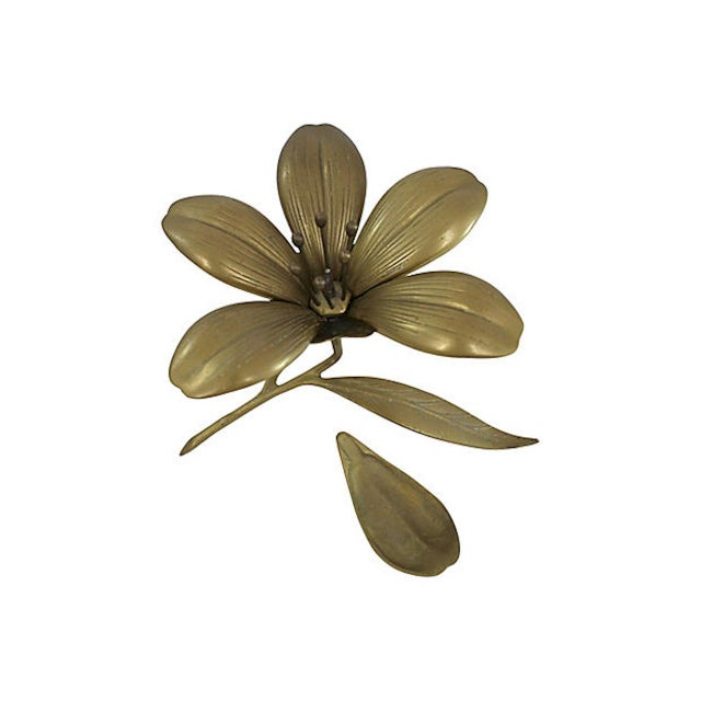 Mid-Century Modern Brass Sculptural Flower Ashtray For Sale - Image 3 of 6