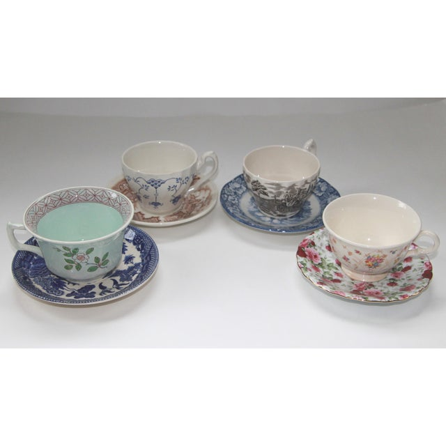 Myott Son & Co. Mismatched Vintage Transferware Cups & Saucers - S/4 For Sale - Image 4 of 4