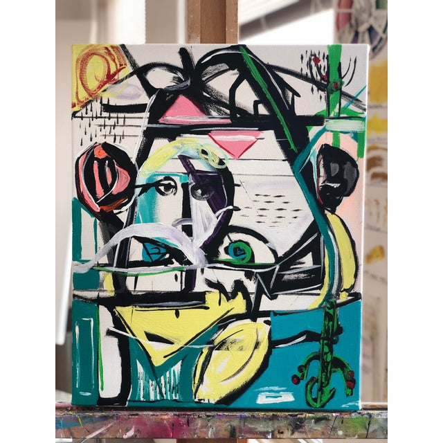 Canvas Jj Justice Contemporary Abstract Portrait Painting For Sale - Image 7 of 10