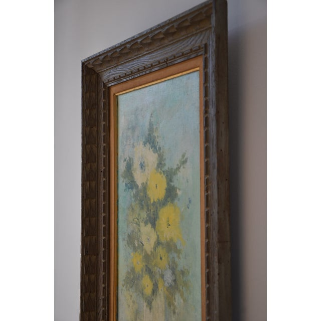 """Blue Vintage Framed Mid-Century Flower Painting on Canvas """"White Vase"""" by Emily Whaley For Sale - Image 8 of 11"""