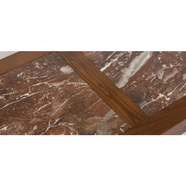 Arts & Crafts Grosfeld House Marble and Oak Coffee Table For Sale - Image 3 of 5
