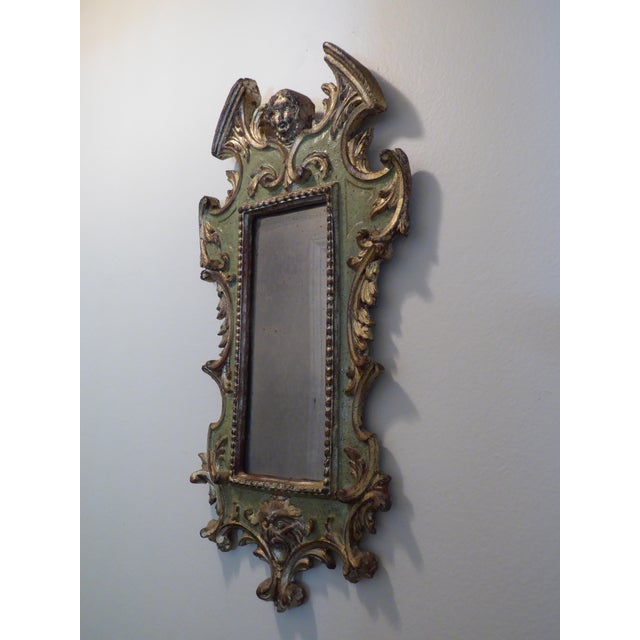 Vintage Rococo Green & Gold Gilt Carved Wood Mirror For Sale In Los Angeles - Image 6 of 11