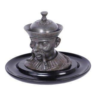 English Pewter Figural Inkwell For Sale