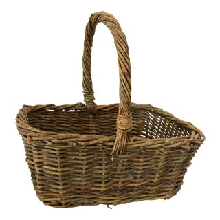 Antique Basket With Handle For Sale