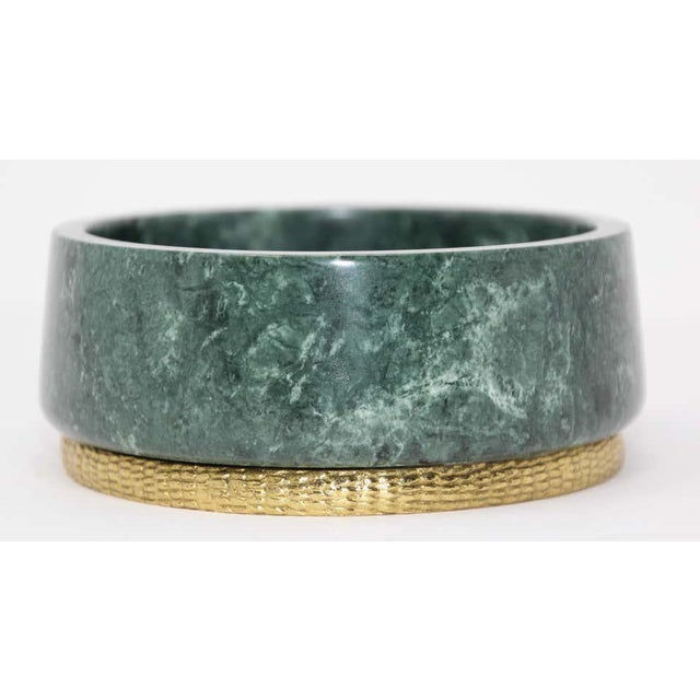 Modern green Italian marble footed bowl catchall with brass. Use as a catchall or decorative bowl. Marked on the bottom....