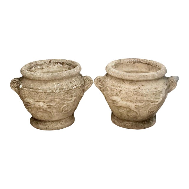 19th Century French Relief Stone Urns -A Pair For Sale