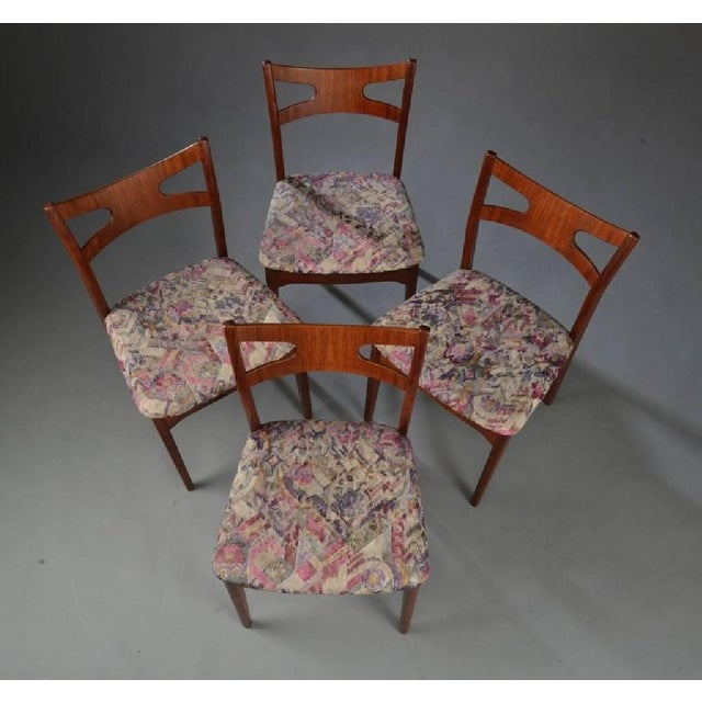 Danish Modern Floral Teak Dining Chairs, 1960s - Set of 4 For Sale - Image 3 of 5