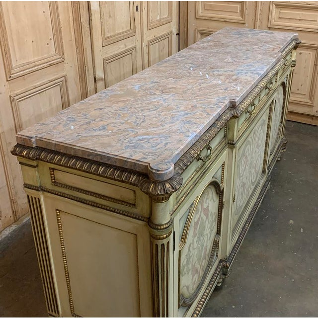 Antique Italian Marble Top Painted Buffet For Sale - Image 12 of 13