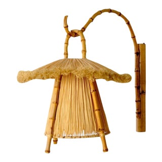 Bamboo and Straw Hanging Lantern For Sale