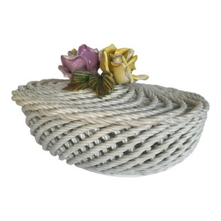 Mid 20th Century Vintage Capodimonte Style Porcelain Open Weave Basket Figurine For Sale