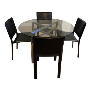 Room & Board Stainless Steel and Glass Benson Table & 4 Black Madrid Chairs For Sale