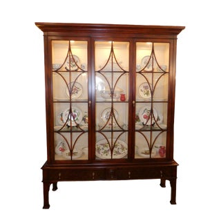 Traditional Hickory White Innovation Lighted China Display Cabinet For Sale