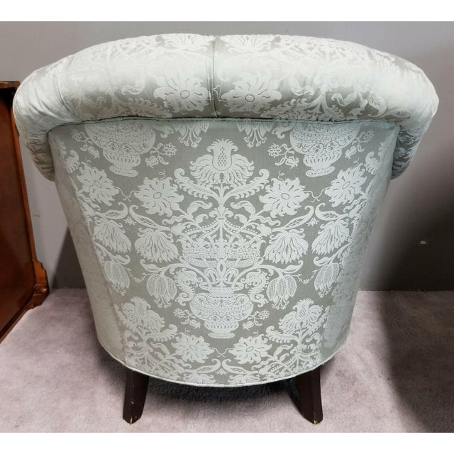 1980s Drexel Heritage Upholstery Collection Damask Tufted Barrel Club Armchairs - Set of 2 For Sale - Image 5 of 9