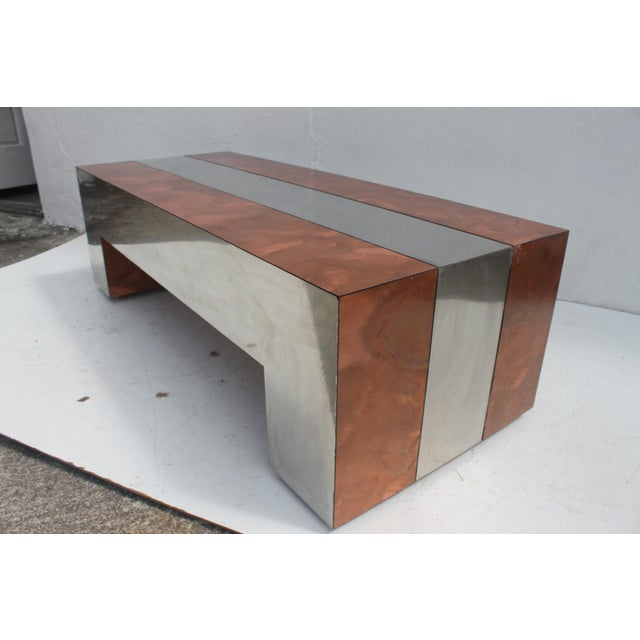 Paul Evans Style Chrome & Copper Rectangular Coffee Table