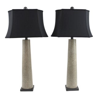 Polished Concrete Table Lamps With Black Silk Shades - a Pair For Sale
