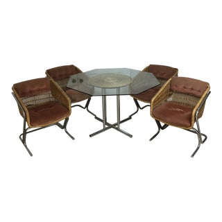 Knoll/Daystrom/Rinaldi Style Vintage Wicker and Chrome Dining Set For Sale