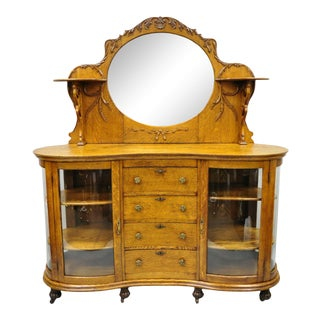 Antique Victorian Tiger Oak Carved Paw Feet Sideboard Buffet China Cabinet Base For Sale