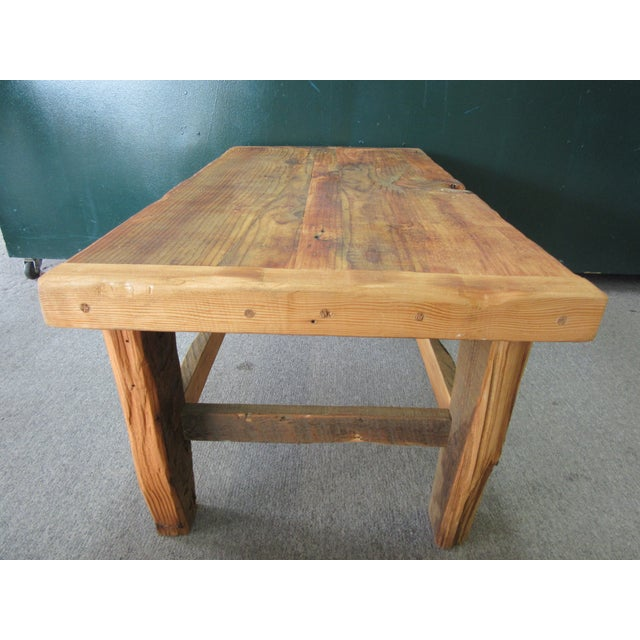 Rustic Reclaimed Pine Peg-Jointed Coffee Table - Image 5 of 11