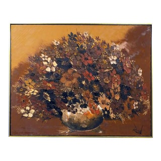 Large Original Mid Century Acrylic on Canvas Flowers in Heavy Relief, Framed For Sale