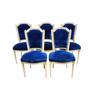 Set of 5 Antique French Oak Carved Dining Chairs With Original Blue Upholstery 1920 For Sale
