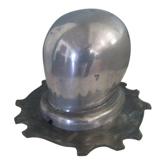 1930s Vintage Art Deco Period Aluminum Head Form on Dragster Clutch Plate Base Sculptural Piece For Sale