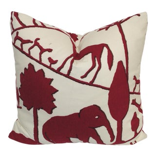 Contemporary Clarence House Cotton Elephant Print Pillow For Sale