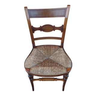Vintage Mid Century Rustic French Country Style Rush Seat Side Chair For Sale